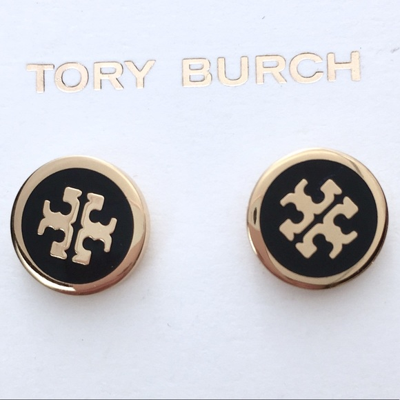 TORY BURCH LACQUERED LOGO STUDS Gold w/ Black